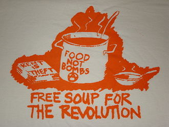 "Food Not Bombs - ""Free Soup for the Revolution"" illustration"