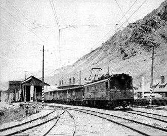 Transandine Railway - A freight train in Las Cuevas, 1973