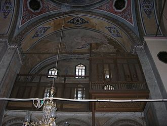 Gül Mosque - The southwest gallery with the wooden Sultan lodge.