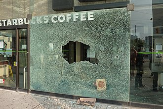 2010 G20 Toronto summit protests - This Starbucks branch was one of many shops to have damaged exteriors from the riots