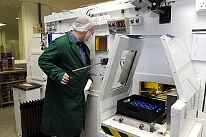 Amersham - Packaging radioactive pharmaceuticals at GE Healthcare's facility.