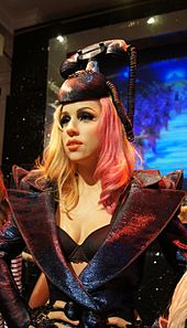 A wax statue of Lady Gaga.