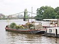 Garden on a barge, by Hammersmith Bridge - geograph.org.uk - 836405.jpg