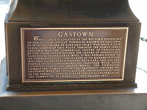 Gastown - Gastown Steam Clock Plaque