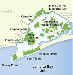 Map of the Jamaica Bay Unit of Gateway National Recreation Area.  The Broad Channel community is depicted in yellow on the largest island located within the Jamaica Bay Wildlife Refuge section.