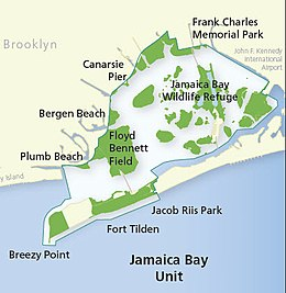 Map of the Gateway National Recreation Area's Jamaica Bay unit