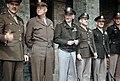 Generals Anton; Eisenhower; Carl Spaatz; Jimmy Doolittle, CO 8th Air Force; Gen. William Kepner, CO, 8th AF Fighter Command, Col. Don Blakeslee.Debden April 1944.JPG
