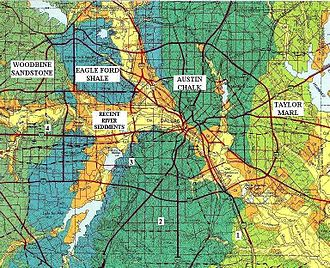 Geology of the Dallas–Fort Worth Metroplex - Geologic map and the labeled geologic formations that lie directly beneath the surface in Dallas County