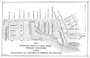 Baltimore riot of 1861 - Union route through Baltimore, as later depicted by Mayor George Brown