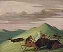 George Catlin - Buffalo Chase, Bull Protecting a Cow and Calf - 1985.66.412 - Smithsonian American Art Museum.jpg