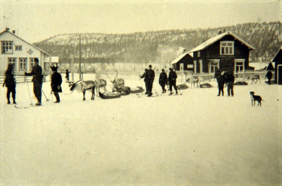 German soldiers with reindeer in Februar 1941 in Karasjok