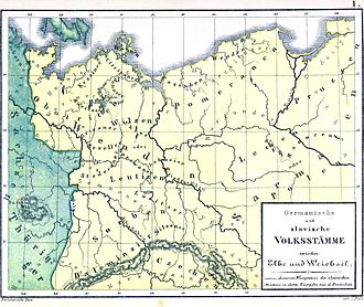 Sorbs (tribe) - Sorbs and their sub-tribes, Luzici, Milceni and Daleminci, seen in the southwest corner of early West Slavic tribal area.