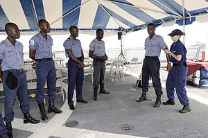 Ghana Navy - Members of the Ghanaian Navy learning maritime law-enforcement tactics