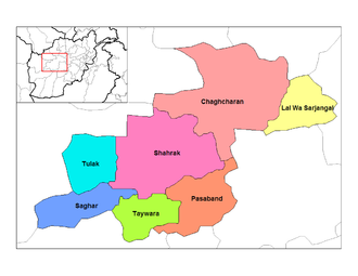 Ghor Province - Districts of Ghor prior to the 2005 subdivision of Chaghcharan District.