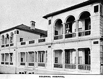 St Bernard's Hospital - Façade of the old Colonial Hospital in the late 19th century.