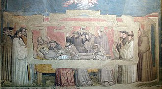 Florentine painting - Giotto's fresco, the Mourning of St. Francis in the Bardi chapel of Santa Croce.
