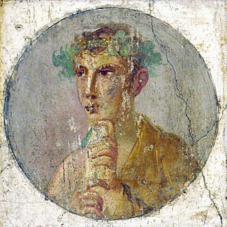 Culture of ancient Rome - A fresco portrait of a man holding a papyrus roll, Pompeii, Italy, 1st century AD