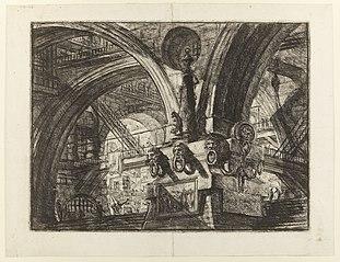 Le Carceri d'Invenzione, plate XV: The Pier with a Lamp