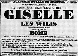 Boldlettered type of an announcement from the Academie Royale de Musique on 28 June 1841: La premiere representation de Giselle ou les Wilis, ballet-pantomime en 2 actes.
