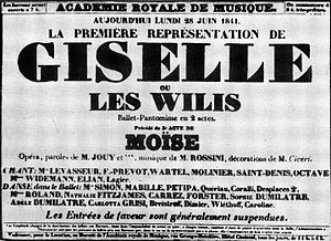 Boldlettered type of an announcement from the Academie Royale de Musique on 28 June 1841: La premiere representation de Giselle ou les Wilis, ballet-pantomime en 2 actes.