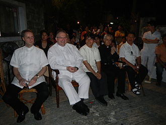 Apostolic Nunciature to the Philippines - Monsignor Giuseppe Pinto, Apostolic Nuncio to the Philippines (fourth from left seated) at the Good Friday Processions of Baliuag, Bulacan.