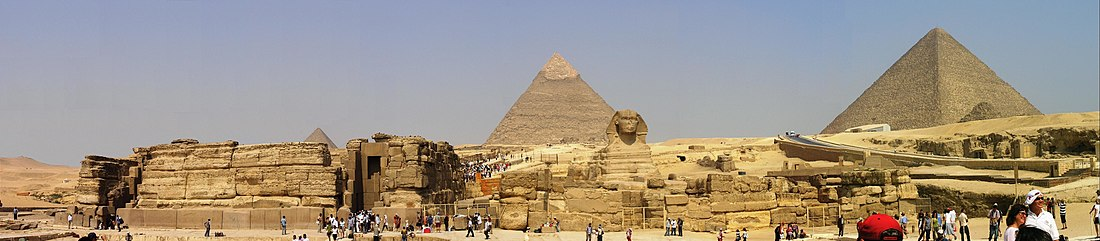 Giza pyramid complex, Egypt. The Great Pyramid of Giza is one of the Seven Wonders of the Ancient World (visit pending).