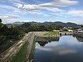 Gokurakubashi Bridge and moat from base of Tenshu of Hagi Castle 2.jpg