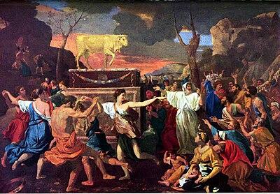 L'adorazione del vitello d'oro, di Nicolas Poussin