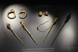 Kazaziye - Image: Gold and silver jewelry, 8th 3rd century BC, Ashmolean M, 142560