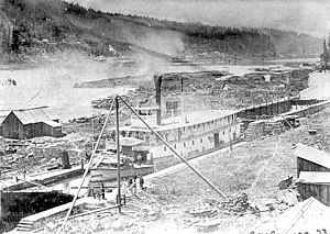 Steamboats of the Willamette River - Governor Grover at Willamette Locks, March 21, 1873
