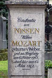 Tombstone of Constanze Mozart, cemetery of Sebastian Church, Salzburg (Source: Wikimedia)