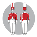 Graphic rendering of current University of Alabama Million Dollar Band musician uniform, front and back.png