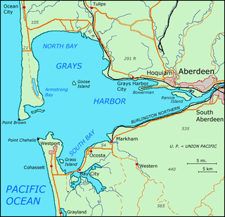 Grays Harbor estuary and bay of Pacific Ocean in Washington state, U.S.