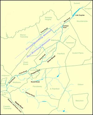 Bound Brook (Raritan River) - Image: Green Brook Map