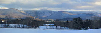 "The Berkshires - The Mount Greylock massif seen from the west in winter, with the deep valley known as ""The Hopper"" directly below the summit"