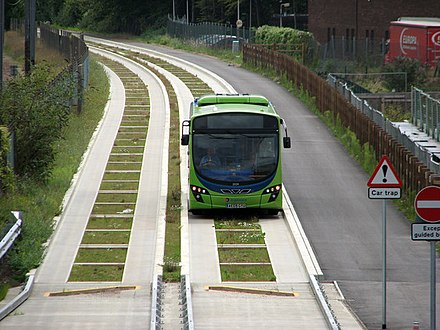 A guided bus on the Cambridgeshire Guided Busway Guided bus from Trumpington - geograph.org.uk - 2543891.jpg