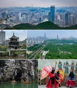 Clockwise from top: Guiyang Skyline, Guanshanhu Park, Ground Opera [zh] troupe performing in Qingyan, Dry Cave of the Tianhe Lake, Jiaxiu Pavilion [zh]