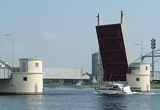 Guldborgsund Bridge - The bridge with one bascule open