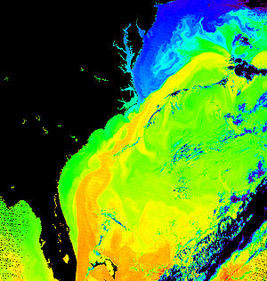 Nor'easter - Surface temperature of the sea off the east coast of North America. The corridor in yellow gives the position of the Gulf Stream