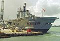 HMS Ark Royal (R07) Invincible class aircraft carrier 22,000 tons, Royal Navy. (11562075446).jpg