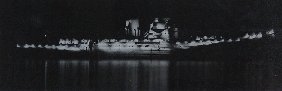 HMS Largs by night with incomplete Diffused Lighting Camouflage 1942