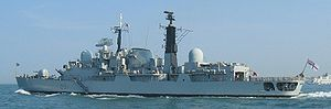 Operation Sharp Guard - Image: HMS Nottingham D91