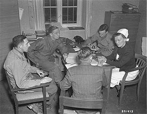 Death Mills - American war crimes investigators question Irmgard Huber at the Hadamar Euthanasia Centre, May 1945
