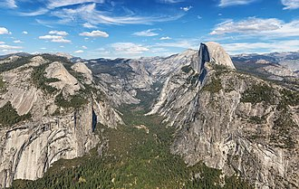 Yosemite National Park, an example of an environmental good. Half Dome with Eastern Yosemite Valley.jpg