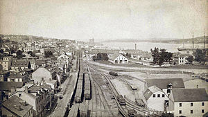 Halifax Explosion - Looking north from a grain elevator towards Acadia Sugar Refinery, circa 1900, showing the area later devastated by the 1917 explosion