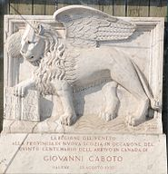 Plaque commemorating the 500th anniversary of the Caboto's landing at Halifax Harbor;  The donor was the Italian province of Veneto, the table is decorated with the lion of St. Mark
