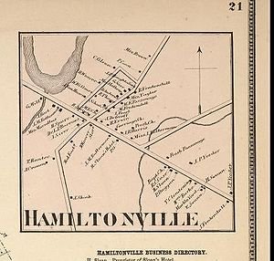 Guilderland (hamlet), New York - Map of Hamiltonville in 1866.