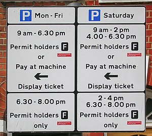 Decriminalised parking enforcement - Roadside parking restriction sign