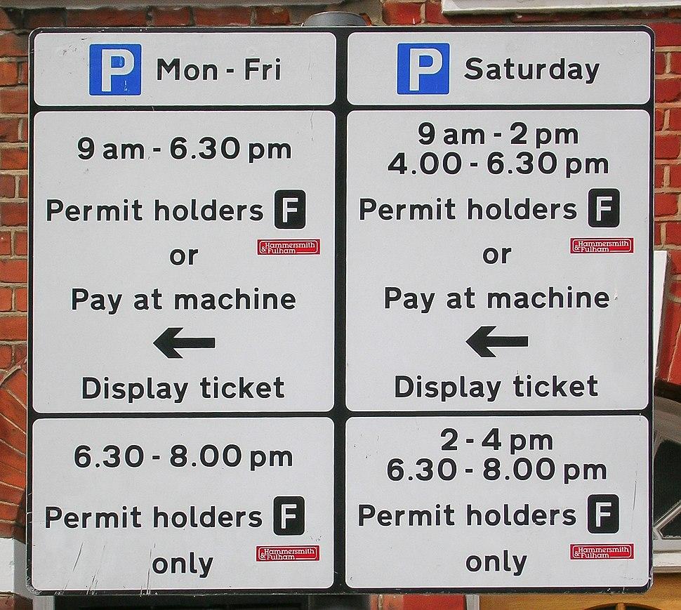 Hammersmith & Fulham roadside parking restriction notice