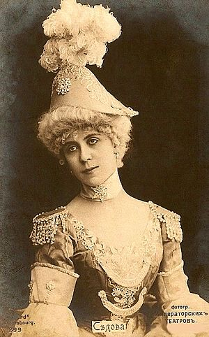 Les millions d'Arlequin - Julia Sedova as Columbine in Les millions d'Arlequin in her costume for the Polonaise of Act II. St. Petersburg, ca. 1905